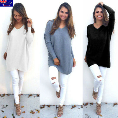 Women V Neck Loose Knitted Sweater Long Sleeve Casual Pullover Jumper Cardigan
