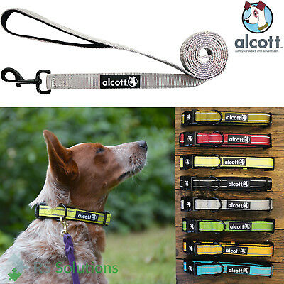 Alcott Reflective Premium Nylon Neoprene Dog Leash Lead / Collar - All Sizes