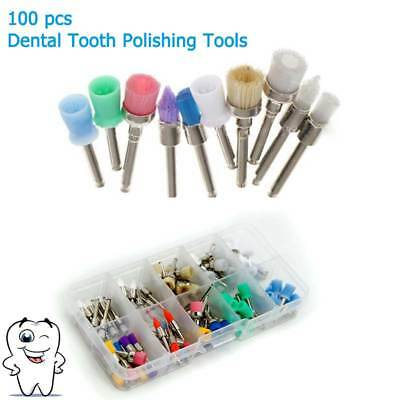 100x Dental Tooth Polishing Tools Set Polishing Latch Prophy Cups Bowl Brush Kit