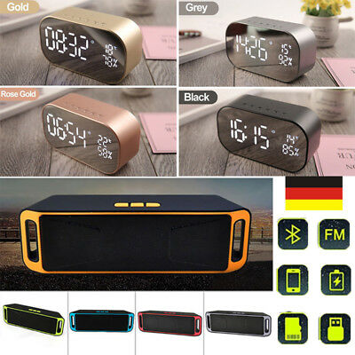 Digital Wireless Bluetooth Lautsprecher FM-Radio Wecker USB Micro SD TF AUX MP3
