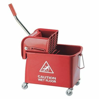 Red Mobile Mop Bucket and Wringer 20 Litre 101248RD [CNT00054]