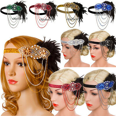 Gatsby 1920s Flapper Headbands Scarfs Wedding Bridesmaids 20'S Party Accessories