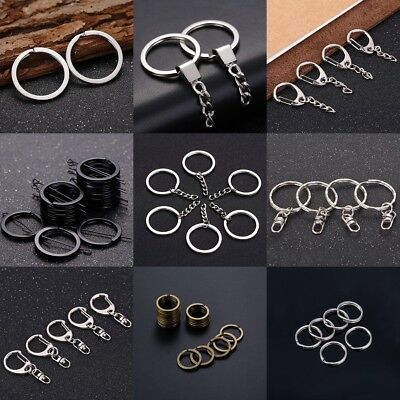 10pcs Keyring Blanks Silver Tone Key Chains Findings Split Rings Link Chain.