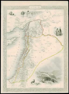 "1850 Original Illustrated Antique Map of ""SYRIA"" by TALLIS  (197d)"