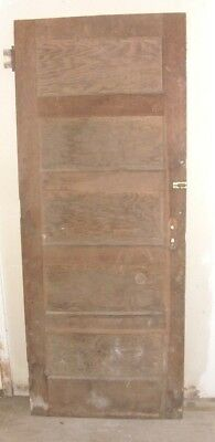 "Antique Vintage Wood Interior  Door Brown both sides about 80"" tall & 32"" wide"