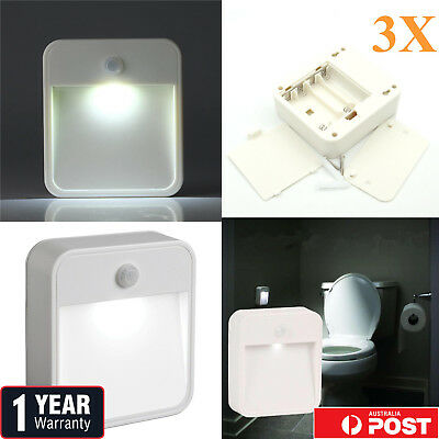 3XBattery Operated LED Wall Stair Lamp Motion PIR Sensor Step Lights Night Light
