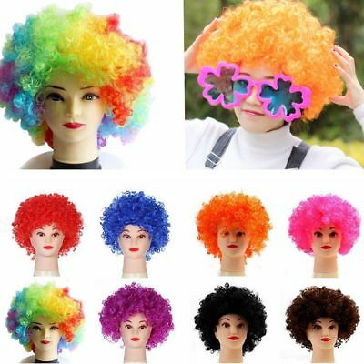 70 80s CURLY AFRO WIG FANCY MULTI COLOUR HAIR PARTY CLOWN FUNKY DISCO KIDS CHILD