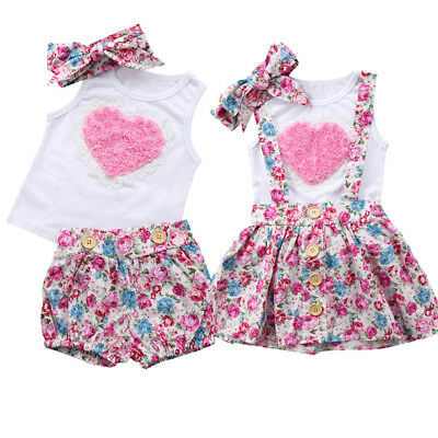 3PCS Kids Baby Girls Sister Matching Floral Clothes Top +Dress Pants Outfit Set