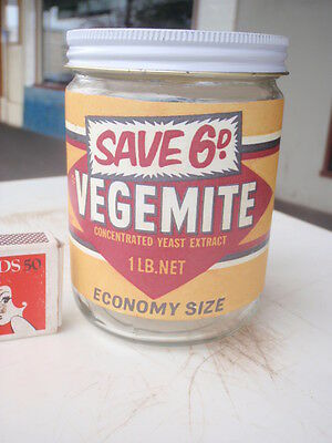 Vegemite Jar, with Lid & Paper  Label;