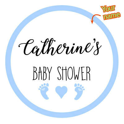 EXTRA LARGE BABY SHOWER BLUE Gender Personalised Stickers GLOSS  MATTE 313