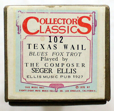 "SEGER ELLIS ""Texas Wail"" COLLECTORS CLASSICS 102 [PIANO ROLL]"