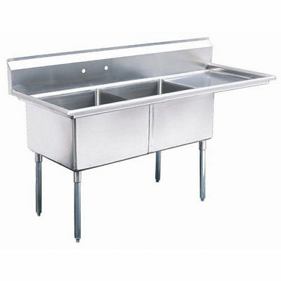 """Stainless Steel 2 Compartment Sink 56.5"""" x 24"""" with 18"""" Right Drainboard"""