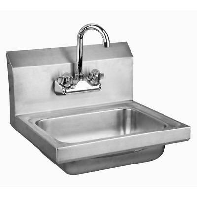 Stainless Steel Wall-Mount Hand Sink with Faucet & Drain