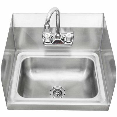 Stainless Steel Wall-Mount Hand Sink with Faucet & Drain & Side Splashes