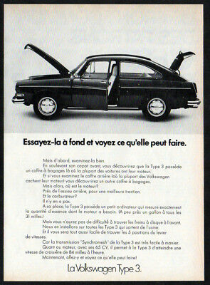 1972 VOLKSWAGEN Type 3 Vintage Original Print AD Black car photo Canada French