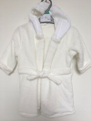 BNWOT Coo Chi Coo Fleece Hooded Dressing Gown. Unisex. Cream. Age 0 - 12 Months