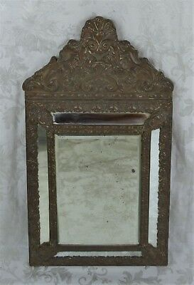 """Antique 19th Century Diminutive Dutch Baroque Style Repoussee 25.5"""" Tall Mirror"""