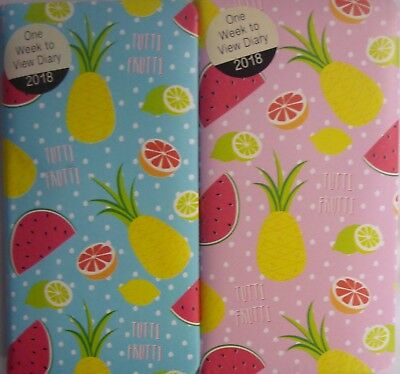Tutti Frutti Padded A6 2018 Slimline Tall Week to a View Diary