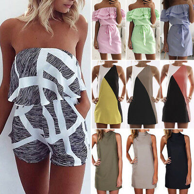 UK Womens Holiday Mini Playsuits Ladies Jumpsuits Beach Summer Dress Size 6 - 22