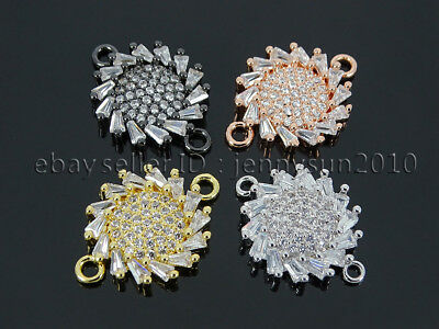 Clear Zircon Gemstones Pave Flywheel Bracelet Connector Charm Beads Silver Gold