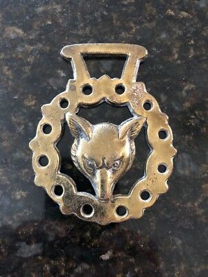 Horse Harness Brass Medallion Bridle Ornament WOlf
