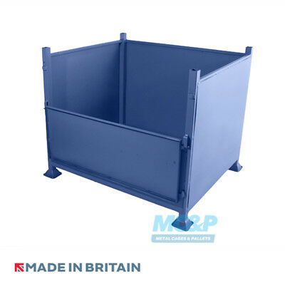 Metal/Steel Stillage with Solid Sides and Half Drop Front Door - Made in the UK