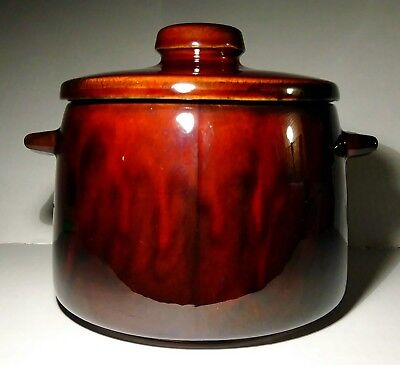 Vintage West Bend Bean pot Brown Glaze Stoneware 2 Quart With Lid Stamped USA