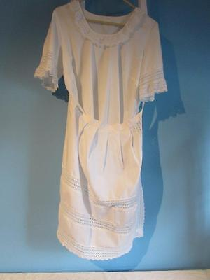 White Dirndl Top With Apron