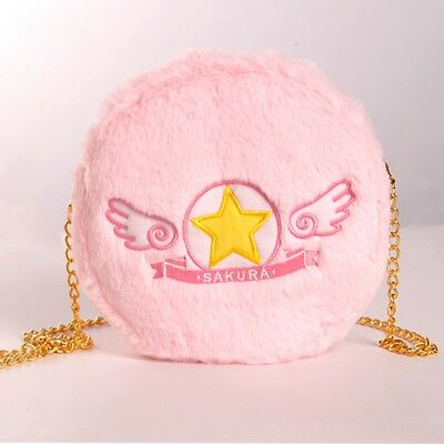 Card Captor Sakura Plush Girls Bag Pink Cosplay Shoulder Bag Cute Cartoon Bag