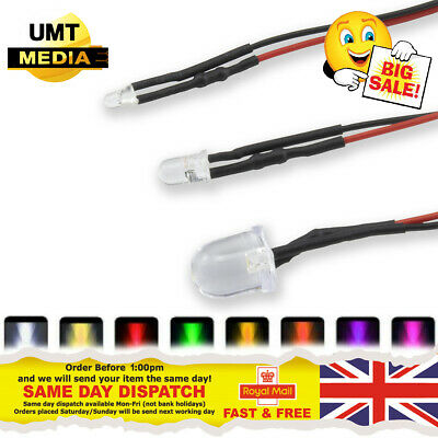 12V Pre-Wired LEDs 3mm/5mm/10mm Various Colours Lamp Wired LED 9V-12 Volts