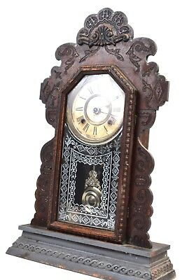 "Vintage Antique Clock American Wringer Co Ansonia 22"" Wood Gingerbread Kitchen"