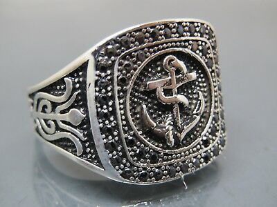 Turkish Handmade Jewelry 925 Sterling Silver Anchor Design Men's Ring Sz 9
