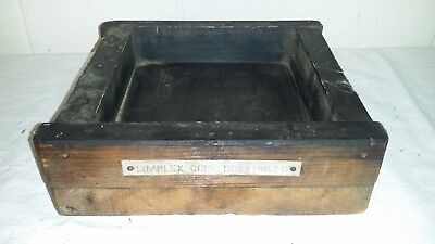 """8"""" Vtg Steampunk Tray Wood Foundry Industrial Pattern Mold"""