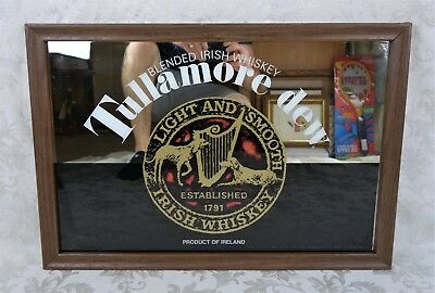 "Vintage Tullamore Dew Irish Whiskey Advertising Bar Mirror Sign Framed 26"" x 18"""