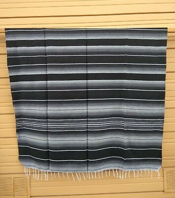 SERAPE XXL,5'X7', Mexican blanket, HOT ROD, Seat covers,MOTORCYCLE,Black & Gray