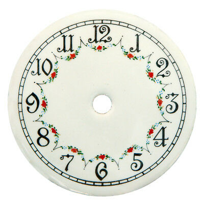 "NEW 4"" Enameled Porcelain Clock Dial - Arabic Numbers with Floral Pattern"