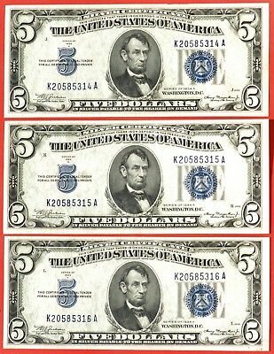 1934 A $5 THREE CONSECUTIVE Silver Certificates Fr #1651, Very Nice