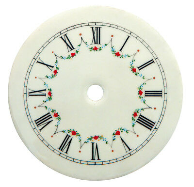 "NEW 4-1/2"" Enameled Porcelain Clock Dial - Roman Numbers with Floral Pattern"