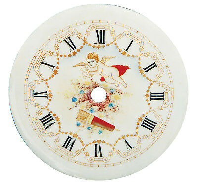 "NEW 4-1/2"" Enameled Porcelain Clock Dial - Roman Numbers with Angel/Cupid"