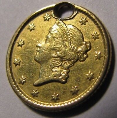 1854 Liberty Head $1 Gold Coin Nice Holed VERY NICE CONDITION .99 NR