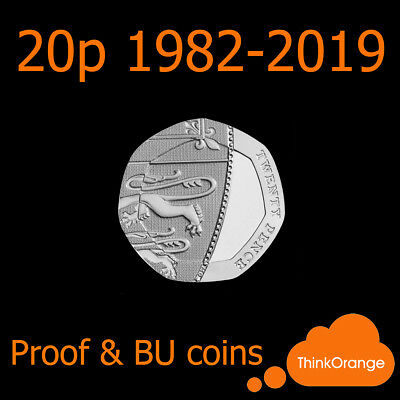 *UK PROOF & BU 20p Twenty Pence Coins 1982-2019 Coin Hunt - select year*