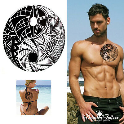 Tribal Yin Yang Temporary Tattoo, Maori, Black, Mens, Womens, Sticker Tattoo Arm