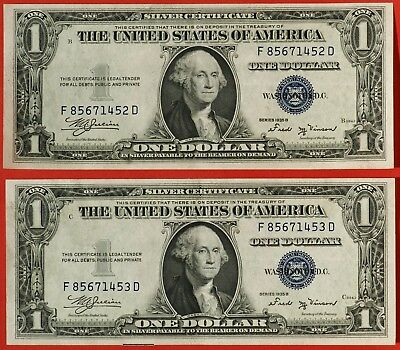 1935 B $1 TWO CONSECUTIVE Silver Certificates Fr #1611, Very Nice