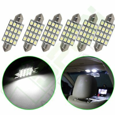 6x LED Car Bulb 42MM Festoon 16SMD Dome Map Interior Light Lamp 6000K White 578