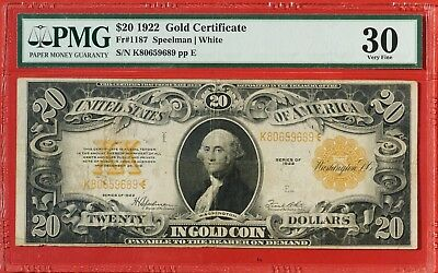 Series of 1922 Large Size $20 Gold Certificate PMG VF30 Fr #1187