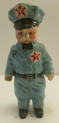 """A Great D.H. Lee 1949 Texaco Man Vintage Cast Iron 7.5"""" Tall Coin Bank"""