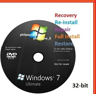 Windows 7 Ultimate 32-Bit Bootable DVD SP1 FULL Install Repair 8 Recovery 10