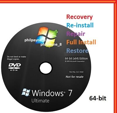 Windows 7 Ultimate 64-Bit Bootable DVD SP1 FULL Install Repair 8 Recovery 10