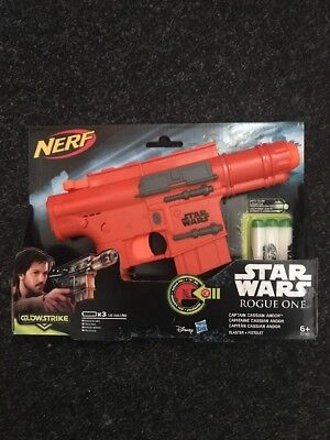 Nerf STAR WARS Toy Gun Blaster Pistol Captain Cassian Andor + GLOW STRIKE Darts