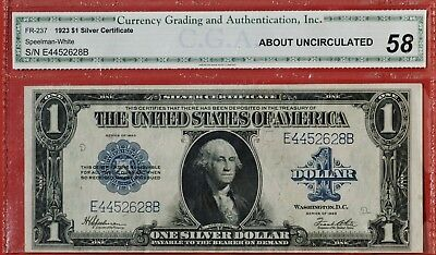 1923 Large Sized  $1 Silver Certificate CGA, AU 58, Fr #237